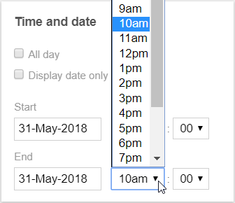 Events Calendar Time Selector Input
